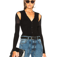 Alexander Wang Shoulder Slit Rib Cardigan in Black | FWRD