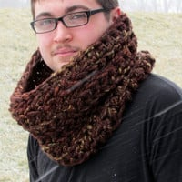Chunky Oversized Cowl, Men's, Sequoia Brown Crochet Cowl, Neckwarmer, Bulky, Unisex, Circle Scarf