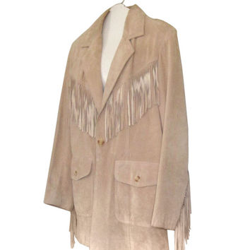 Leather Fringe Blazer Jacket Brown Fringe Jacket Plus Size Blazer Plus Size Clothing Leather Blazer Western Fringe Plus Size Clothes Suede