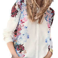 Off White Floral Print French Cuff Sleeve Blouse