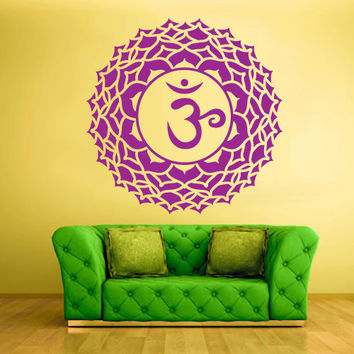 Wall Decal Vinyl Sticker Decals Crown Chakra Indian Om (z1301)