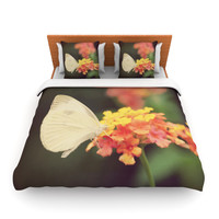 "Robin Dickinson ""Captivating"" Orange Flower Lightweight Duvet Cover"