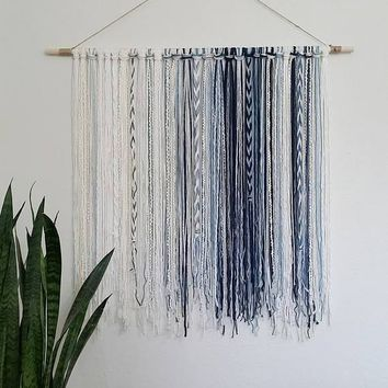 Tapestry, Bohemian Yarn Tapestry, Yarn Wall Hanging, Blue, Ivory, White, Watercolor TapestryTapestry, Bohemian Yarn Tapestry, Yarn Wall Hanging, Blue, Ivory, White, Watercolor Tapestry