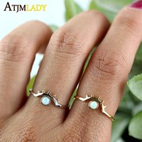 2018 New Arrival Limited Copper Anillos eyes Sparking stone Fire Opal Unique Design Flower Women Jewelry Color Ring jewelry