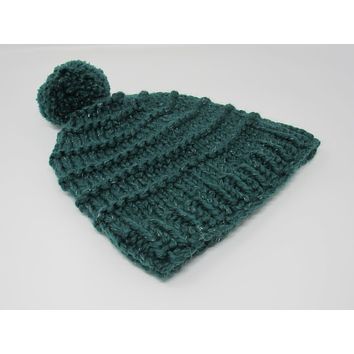 Handcrafted Knitted Hat Beanie Green Pom Pom 97% Fine Merino Wool Female Adult -- New No Tags