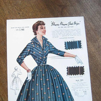 1950s Vintage Dress Illustrations w/ Swatches; Fashion Frocks Sales Sample Sheets for Pink/Yellow/Blue Fit & Flare and Shirtwaist Dresses