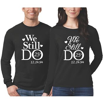 Anniversary Couple Shirts - Long Sleeve - Black