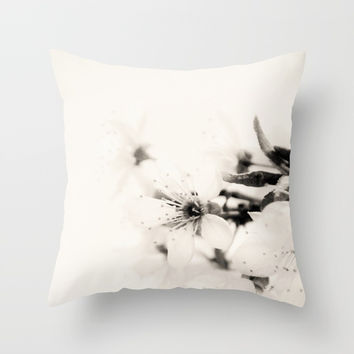 Monochrome Blossoms Close-up Throw Pillow by ARTbyJWP