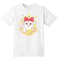 Kitty Cat Surrounded by Flowers and Butterflies Graphic Print Tee T-Shirt for Women