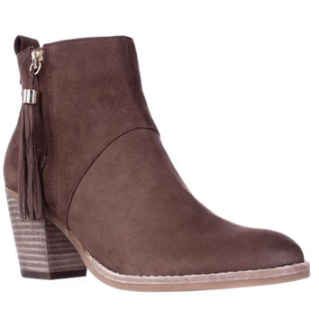 STEVEN by Steve Madden Beti Tassel Zipper Ankle Booties, Brown, 8.5 US