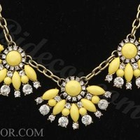 Yellow Necklace Crystal Necklace Fashion Necklace Statement Necklace
