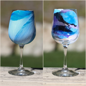 Mermaid Galaxy Wine Glass: Pastel Sea-Through Mermaid Tail Design