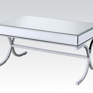 Alluring Coffee Table, Mirrored Top & Chrome Silver
