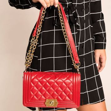 Sansa Red Quilted Shoulder Handbag