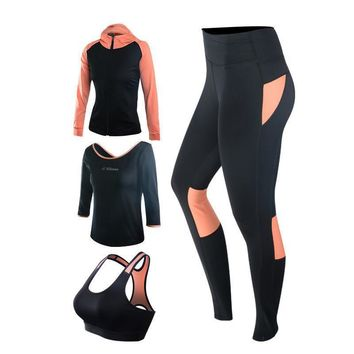 4 Piece Workout Set - Black Sport Bra,Running Pants, Long Sleeve Shirt, & Jacket