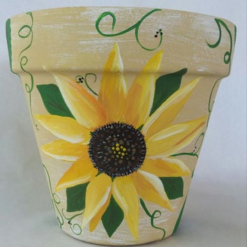 Flowerpot, hand painted pot, sunflower clay pot, sunflower flower pot, painted sunflower planter, sunflower pottery,hand painted pot,pottery