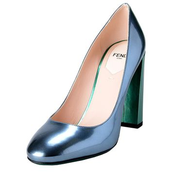 Fendi Women's Leather Metallic Blue High Heels Pumps Shoes