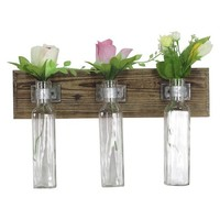 Wood And Glass Flower Holder
