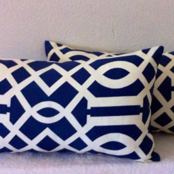 Decorative-Accent-Throw Pillow Cover Set of Two -12 x 22 inch Geometric Trellis.Cream on Navy-Free Domestic Shipping