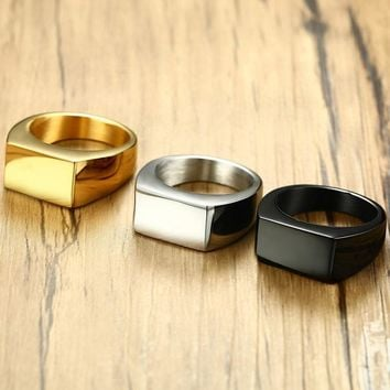 Fashion Black Gold Silver Color Stainless Steel irregular Rings For Boy and Boy Friendship Men Ring Simple Jewelry Ring Male