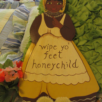 Vintage One of a Kind Black Americana Handmade and Hand Painted Wooden Hanging Mammy 'Wipe Yo' Feet' Wall Art Decor-Unique Gift Idea