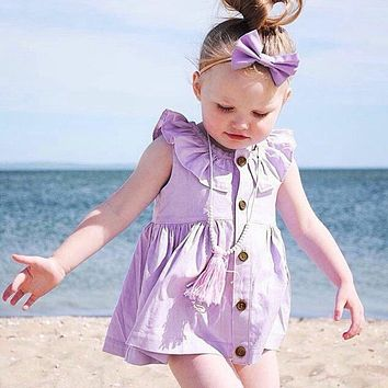 Fashion New Spring Summer Toddler Baby Kid Tutu Button Dress Girl Sleeveless Solid Purple Beach Dress Girls Cloth