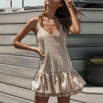 Fashion Casual Rainbow Stripe Loose Short Dress Women Sexy V Neck Strap Backless Dress