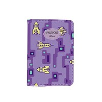Rocket Space Pattern [ Name Customized ] Passport Holder - Novelty Leather Passport Cover - Vintage Passport Wallet - Travel Accessory Gift - Travel Wallet for Women and Men_LOKISHOP
