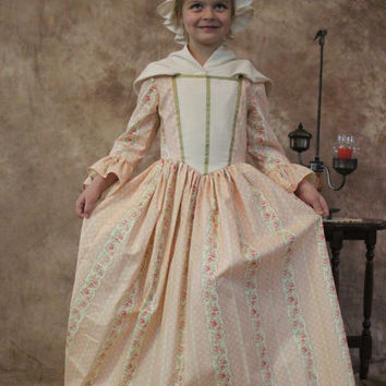 Girl's Colonial 18th Century Floral striped American Girl Day dress-sold seperately or with matching doll's dress-Felicity-MADE-TO-ORDER