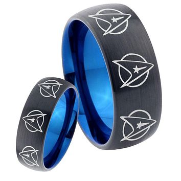 His Hers Multi Star Treks Dome Tungsten Carbide Blue Wedding Ring Set
