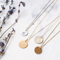 Custom Alphabet Necklace,Personalized Rose Gold Initial Disc Hand Stamped Rose Gold Circle Pendant - Mother's Day Gift, Gift for Bridesmaids