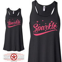 Sparkle Workout Tank - Flowy Women's Tanks - Tops Gym Apparel Cute Work Out Shirt