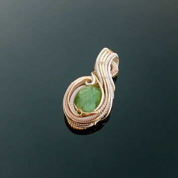 Wire wrap / Tsavorite Garnet Electric Green Silver and Gold Necklace one of a kind