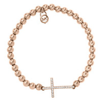 Michael Kors Pave Cross Bead Bracelet, Rose Golden