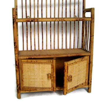 Vintage Bamboo and Rattan Cabinet, Bathroom Vanity, Home Decor, Wall Cabinet, Dresser, Wicker