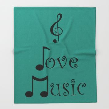 I Love Music - Tribal Teal Throw Blanket by Moonshine Paradise