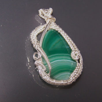 Very Intricate Wire Wrapped Pendant, Green Teardrop Natural Agate Bead , OOAK Pendant, Stone Setting
