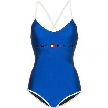 TOMMY HILFIGER Summer Beach Popular Women Sexy Print One Piece Bikini Swimsuit Bodysuit Blue