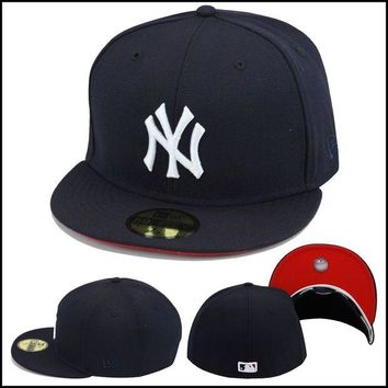 DCK4S2 New Era New York Yankees Fitted Hat All Navy/White/RED Bottom baseball MLB