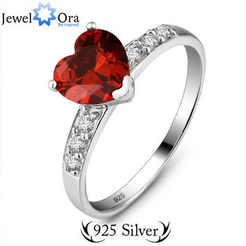 OPAL FERRIE - 925  Sterling Silver Ruby CZ Diamond Heart Ring