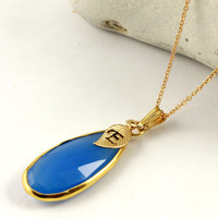 Blue Chalcedony Necklace - Bezel Teardrop with Initial Leaf - Gold Finished Silver - Personalized Necklace - Monogram Necklace