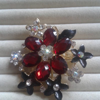 grey and red crystal flower rhinestone goldtone  brooch  pin