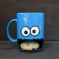 Googly Eyed Monster Ceramic Cookie and Milk Dunk Mug - Ready to Ship