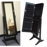TMS® Black Wood Mirrored Jewelry Armoire Cabinet Stand Mirror Necklace Bracelet Ring