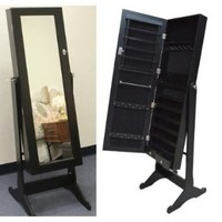 Black Wood Mirrored Jewelry Armoire Cabinet Stand Mirror Necklace Bracelet Ring