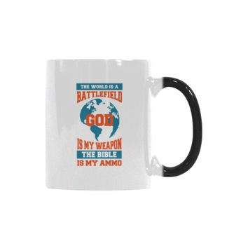 The World Is A Battlefield God Is My Weapon The Bible Is My Ammo Christian Color Changing/Morphing 11oz Coffee Mug