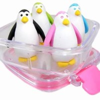 Iwako Japanese Erasers In A Mini Bento Box - Penguins