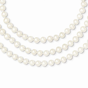 14k Gold 3 Strand Cultured Pearl Necklace