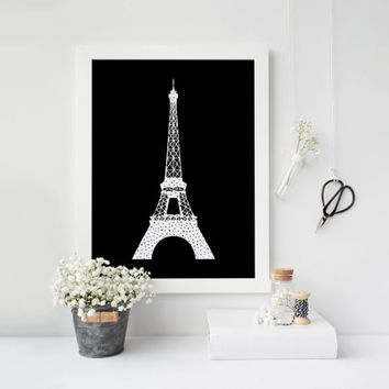 Eiffel tower, Printable poster, Paris, Printable art, Scandinavian poster, Modern art, Nordic decor, Black and white, Polka dots