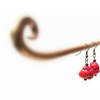 Women's Red Natural Coral Hook Earrings, Copper Hook Dangle Earrings